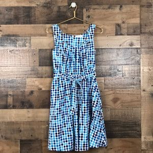 Calvin Klein Blue Polka Dot Fit and Flare Dress 6